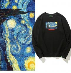 The Starry Night Little Girl Hoodies Famous Painting Tops