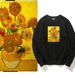 Famous Painting Van Gogh Sunflowers Hooded Coat Hoodie Teens