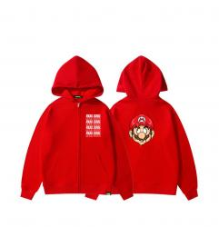 Mario Head Portrait hooded sweatshirt Boys Red Zip Up Hoodie